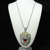 Wholesale Lion Silver Necklace - New Style Big Size Iced Out Lion Head Pendant Franco Chain Hip Hop Necklace CZ Bling Silver Plated