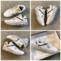 Wholesale Casual Shoes Brands - 2017 New Brand White x Air 90 Ice 10X AA7293-100 Sports Running Shoes for Men Women M 90s Casual Sneakers Size 40-45 Free Shipping