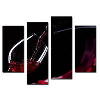 Wholesale modern wine wall art paintings - Amosi Art-4 Pieces Wall Art Painting A Cup Of Wine Pictures Prints On Canvas Picture For Home Modern Decor Or As Gift( Wooden Framed)