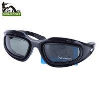 Wholesale Desert C5 - Tactical C5 PC texture Desert Storm sports Polarizing sunglasse 4 lenses Eyewear Cycling Riding Eye Protection goggles Airsoft UV400 Glasses