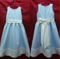 imagen de vestidos de novia azul cielo al por mayor-Como imagen recién llegado de una línea joya arco piso-longitud luz cielo azul vestidos niñas niños boda hermosa flor niña vestidos