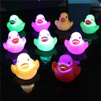 Wholesale Duck Led - Baby Bath Toys LED Water Induction Glowing Ducks Bath Toys Children Water Swimming Toy for Christmas Gift OOA3175