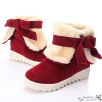 Wholesale Shoes Soft Inside - Fashion Sexy Womens Warm Snow Boots Sweet Style Bowknot Woman Thick Plush Short Boot Shoes Inside Increasing High Shoes Hot Sale
