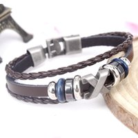 Wholesale Hooks For Ropes - Punk cowhide leather weave bracelet for men 2017 hotsell free shipping whosale