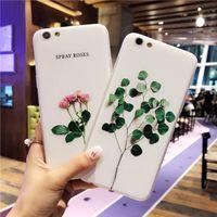 Wholesale 3d Flowers Cartoons - Luxury 3D Relief Leaf Cartoon Case For iphone 7 Case Cute Plants Leaves Flower Back Cover Phone Cases For iphone7 6 6S Plus