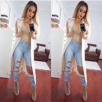 ingrosso jeans nuovi arrivi per le donne-2016052920 Nuovo arrivo strappato grande foro nappe jeans a vita alta lavati pantaloni di jeans a figura intera pantaloni plus size donna womans
