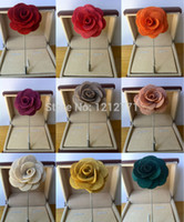 Wholesale Pins Suit - New fashion men cc brooch Flower lapel pin suit Boutonniere Fabric yarn pin 15 colors button Stick flower brooches for wedding women gift