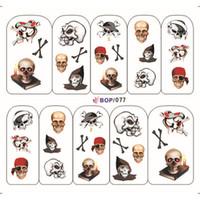 Wholesale Halloween Nail Stickers Skull - Skull Design Halloween Water Nail Decals 4 Pattern Skeleton Flower Water Transfer Nail Sticker 12Sheet Lot Nude Packing