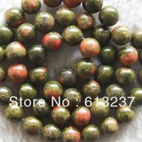 Wholesale Unakite Loose Beads - Wholesale-Multicolor green unakite jasper 8mm charms rainbow round stone loose beads trendy jewelry making 15 inches MY5032