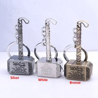 Wholesale Dolls For Cell Phones - Thor Hammer Metal Key Rings Alloy Keychains Cartoon Doll Pendant Keychains For Cell Phone Car Handbag Holder School Gifts 8Cm PX-K05