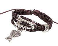 Wholesale Western Jewelry For Women Wholesale - Western Style Punk Angel Charm Bracelet For Women Man Multilayer Leather Bracelet Christmas Gift Charm Bracelets Vintage Jewelry