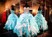 Wholesale Turquoise Sweetheart Neckline - Turquoise White Quinceanera Gown Ruffles Sweetheart Neckline Lace up Back Bolero Jacket Sexy Sixteen Dress Pageant Dress