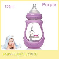 Wholesale Cheap Baby Bottles Wholesale - 150ml High Quality Cheap Baby Cup Kids Children Learn Feeding Drinking Water Wide caliber Straw Handle Bottle Baby Feeding Bottle