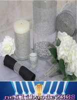 Wholesale Black Ribbon Roll - New Wedding Gift DIY Craft Accessories 24 Rows Diamond Mesh Wrap Sparkle Rhinestones Crystal Ribbon 10 Yards Roll For Party Decoration MYY