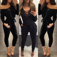 Wholesale Sexy Feet Set - Wholesale- Siamese Trousers Bandages Long-Sleeved Siamese Pants Female V-neck Straps Set Feet trousers Jumpsuites Sexy