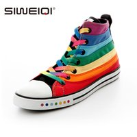 Wholesale Rainbow Striped Fabric - Wholesale-SIWEIQI Fashion Women Canvas Shoes with Striped Rainbow Color Women Flat Shoes All-match Ankle Shoes for Girls Wholesale 2214