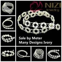Wholesale Roll Pearl String - V11-V20 1M Length Ivory Artificial String Pearl Rolls Chain lasscial Pearls Chain Charm Garland Decor DIY Jewelry Making Materials