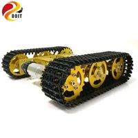 Wholesale rc tracks - Wholesale- DOIT RC Metal Robot Tank Chassis mini T100 Crawler Caterpiller Tracked Vehicle with Plastic Track 2 Motors for Robot Platform RC
