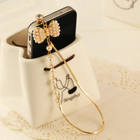 Wholesale Bow Phone Plugs - Wholesale-2016 New Pattern Fashion style 3.5mm Pearl Diamond Bow Design Mobile Phone Ear Cap Dust Plug For Iphone Samsung dust plug