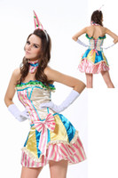 Wholesale New Polyester Backless Fancy Clown Sassy Circus Costumes Halloween Dress Halloween colorful sexy adult circus clown costume women