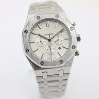 Wholesale Automatic White Dial - New Top Luxury mens watches Brand Automatic Mechanics mens Watches white dial Royal Stainless Steel silver strap watches men free shipping