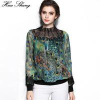 Wholesale lace silk blouses - New Fashion Women Long Sleeve Stand Beading Transparent Neck Lace Pathwork Peacock Print Silk Blouse Chiffon Shirts Women Tops