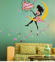 Bricolage Princesse Papillon Moon Girls Art Decal Stickers muraux pour décoration intérieure Mural Kids Bedroom Living Wall Décoration murale