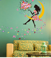 DIY princesa Butterfly Moon Girls Art Decal pared pegatinas para la decoración del hogar Mural niños Dormitorio sala decoración de la pared