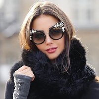 Wholesale Adult Full Films - LOWO European and American Fashion Big Style Individual Cat Eye Sunglasses With Diamond Film Halfback Sunglasses W117
