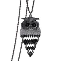Vintage Steampunk Great Owl Pendant Collier Hollow Carved Ethnic Animal Rhinestone Jewelry Sweater Collier en chaîne pour hommes Femmes Nouvelle arrivée