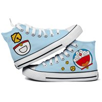Wholesale Couple Painting Canvas - Wholesale-Hand-painted shoes flat canvas high-top shoes male and female couple cute cat