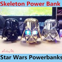 Wholesale Universal Charger Star - Skeleton Power Banks for Mobile Star Wars Darth Vader Powerbanks for iphone6s Samsung Mobile Power Supply Portable Battery Emergency Charger