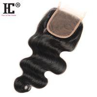 malasia cabello natural al por mayor-Cierre superior de encaje de cabello humano de Malasia Malasia 4x4 Pieza libre de color medio de parte media 8-20Inch Cierre de onda de cuerpo sin procesar Nudos blanqueados