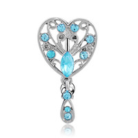 Wholesale Heart Shaped Ring Rhinestone Crystal - 4pcs lots New Reverse Heart-shaped hollow design lake blue Belly Ring Dangle Clear Navel Bar Dangle Body Jewelry Piercing