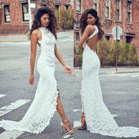 Wholesale High Split Wedding Gown - Fashion Full Lace Mermaid Split Wedding Dresses Open Back Formal High Neck Bridal Gowns Sweep Train