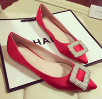 Wholesale Wedding Dresses Red Large Sizes - New pointed women flat shoes fashion casual shoes rhinestone square buckle 2016 large size casual leather surface satin wedding shoes flat
