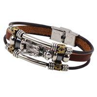 Wholesale Braid Braclet - Wholesale-Vintage Dragon Wrap Metal Leather Bracelet Braided Brand Braclet For Male Female Braslet Femme Pulseira Masculina Pulseras Mujer