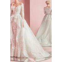 Wholesale Mermaid Dress Lace Coat - Full Lace Long Sleeve High-Low Wedding Dresses Mermaid Ruffled Coat Detachable Skirt Off The Shoulder Wedding Gowns Arabic Designer 2016
