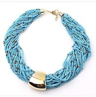 Wholesale Multilayer Choker Bib Necklace - Bohemia Ethnic Beads Necklace Multilayer Chocker Bib Statement Necklaces For Party Giving Gifts Brand Design Christmas