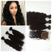 Wholesale Lace Front Part Closure - Brazilian human hair water wave weft Top grade free middle 3 way part lace front closure G-EASY