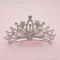 Wholesale Crystals Tiara Birthday - Crystal Rhinestone Bridal Tiara Wedding Crown Prom Party Evening Birthday Hair Crown with Comb High Quality