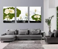 Wholesale Water Picture Frame - Giclee Print Canvas Wall Art Water Lily Flower Contemporary Floral Picture Home Decor Set30406
