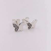 Wholesale cz earring for sale - Authentic Sterling Silver Studs Silver Cz Butterfly Silver Stud Earrings Fits European Pandora Style Jewelry CZ