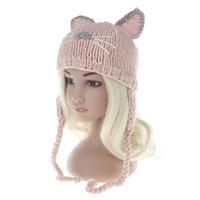 çocuklar kedi şapkaları toptan satış-Moda Bebek Kedi Kulaklar Şapkalar beanies 2017 yeni Kış Çocuklar sıcak Kapaklar Çocuk Şapka El Yapımı Kızlar için Şapkalar Toddlers Beanies ...