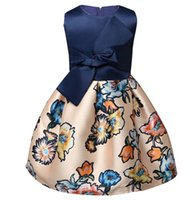 Wholesale Big Bow Dress Girls - Fashion Flower Print Girl Dress Vintage Europe Style Big Bow Baby Girl Clothes Vest Birthday Party Kids A-Line Dresses For Age 3-8 Yrs