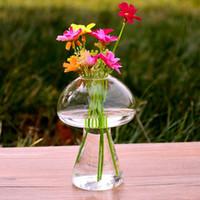 Wholesale Wholesale Terrarium Containers - Mushroom Shaped Glass Vase Glass Terrarium Bottle Container Flower Home Table Decor Modern Style Ornaments