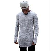 ingrosso estendere la mano-Le nuove magliette di marca di modo estendono la maglietta della via di hip-hop degli uomini della manica lunga disegno oversize tengono la mano