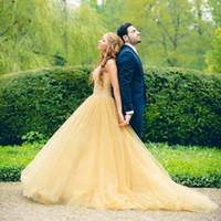 ingrosso vestiti di promenade gialli in vendita-Velluto lungo giallo bello Prom Dresses 2016 con Tulle di cristallo abiti da sera galajurken ballkleider vendita calda 2016