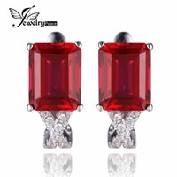 Wholesale Emerald Cut Ruby - JewelryPalace Emerald Cut 6ct Created Red Ruby Clip On Earrings Real 925 Sterling Silver Wedding Engagement Jewelry For Women