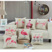 Wholesale Upholstery Covering Cushions - Flamingos Cushioned Sofa Cushions Flamingo Prints Multiple Sofa Office Hold Pillowcase Office Upholstery Upholstered Pillow Covers WL04